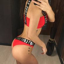 Load image into Gallery viewer, Letter Printed Brazilian Bikini Women Swimwear