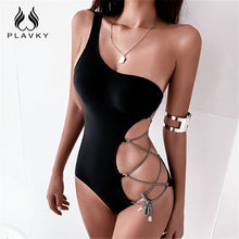 Load image into Gallery viewer, Black One Shoulder Cut Out Bandage Swimsuit Monokini