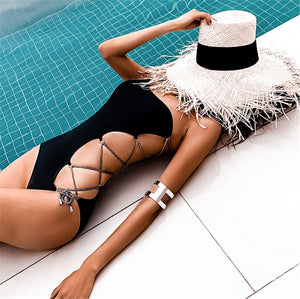 Black One Shoulder Cut Out Bandage Swimsuit Monokini
