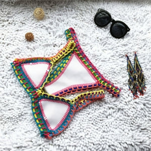 Crochet Crystal Jewel Bikini Lace Up Swimsuit