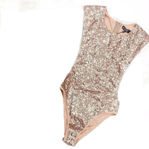 Gold Sparkling Sequin Sleeveless One Piece