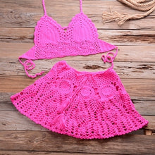 Load image into Gallery viewer, Two piece Crochet Cover Up Swim Skirt