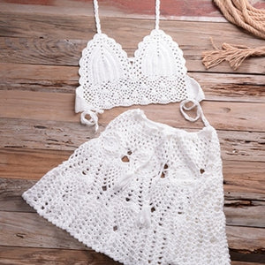 Two piece Crochet Cover Up Swim Skirt