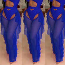 Load image into Gallery viewer, Women High Waist See Through Flared Leg Mesh Long Pants