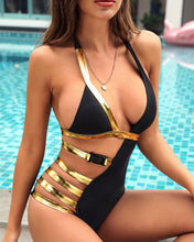 Load image into Gallery viewer, One Piece Swimsuit Black Bandage Vintage Monokini