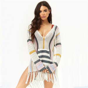 Beach Cover up Swimwear Summer Dress Knitted Fringed Striped Skirt Shirt