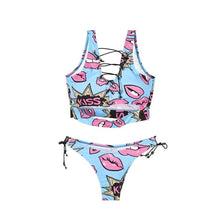 Load image into Gallery viewer, Colorful Print Thong Swimsuit