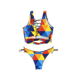Colorful Print Thong Swimsuit
