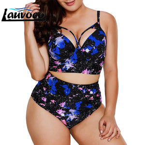Floral Print Plus Size Women High Waist Swimsuit