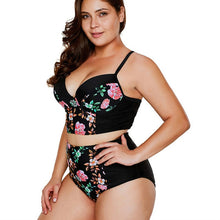 Load image into Gallery viewer, Floral Print Plus Size Women High Waist Swimsuit
