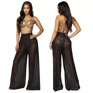 Swimsuit Cover Up Sheer Mesh Pants