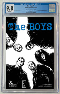 The Boys #1 Black & White Sketch ACE Comic Con Exclusive Blue Foil Logo Darick Robertson Cover CGC 9.8 Limited to 50