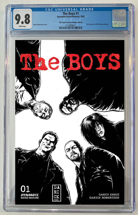The Boys #1 Black & White Sketch ACE Comic Con Exclusive Red Foil Logo Darick Robertson Cover CGC 9.8 Limited to 50