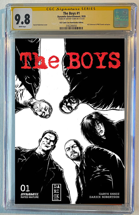 The Boys #1 Black & White Sketch ACE Comic Con Exclusive Red Foil Logo Cover CGC SS 9.8 Signed by Darick Robertson Limited to 50