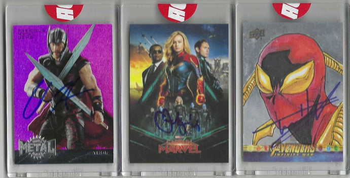 ACE Universe Authentic JSA Witnessed 10 Card Autograph Card Mixer (one card per spot purchased- Includes RARE 1/1 Upper Deck Sketch Card Autographed by Tom Holland and autographs from Brie Larson, Chris Hemsworth, Don Cheadle and others)