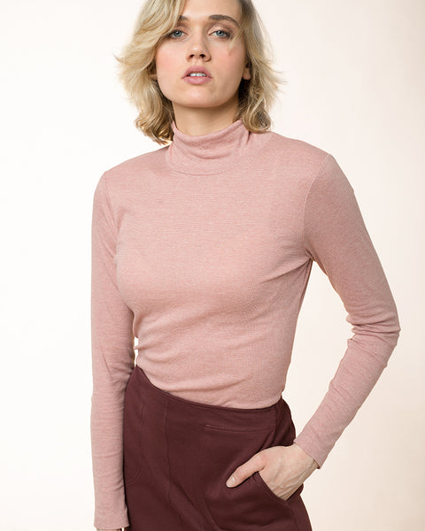 Melange Cotton Turtleneck Marine