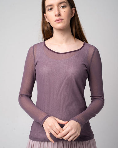 Tulle Shirt Long Sleeve Plum