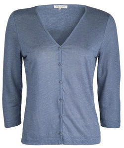 Linen Cardigan Steel Blue