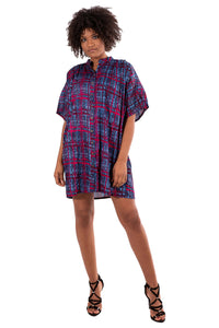 Cara Tunic in Ecovero™ Viscose Blue/Fuschia