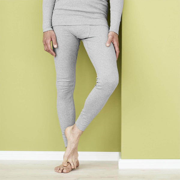 LC Mens Organic Cotton Long Undewear Pant Heather Grey