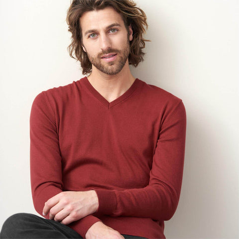 Organic Cotton V-Neck Sweater Red