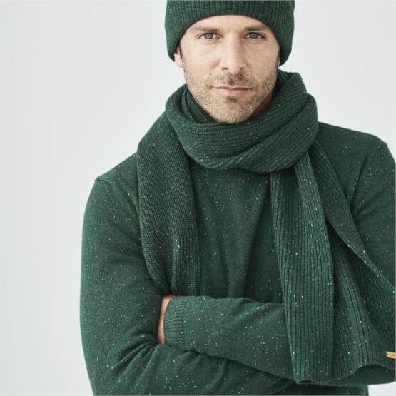 Merino Wool Crew Sweater Heather Green