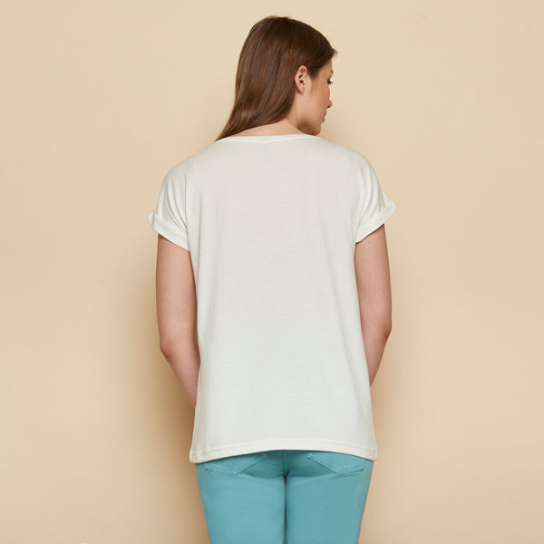 Ribbon Tee Cream