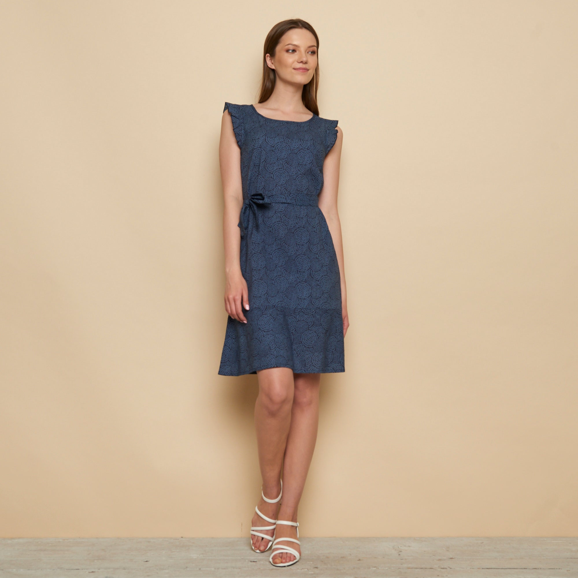 Ruffle Sleeve Dress Blue Chambray