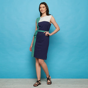 Colorblock Slub Jersey Dress Neptune