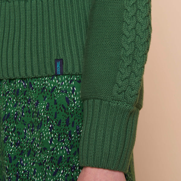 Cableknit Crop Cardigan Green