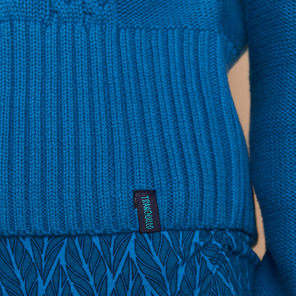 Cableknit Crop Cardigan Sea Blue