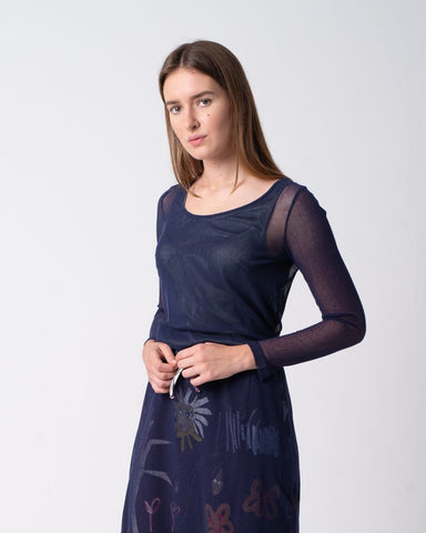 Tulle Shirt Long Sleeve Navy