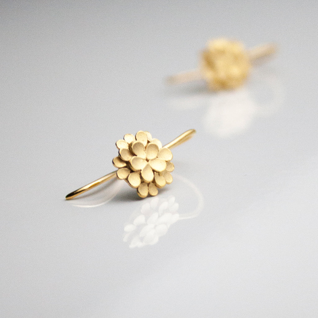 Dahlia Silver Gold-plated Drop Earrings