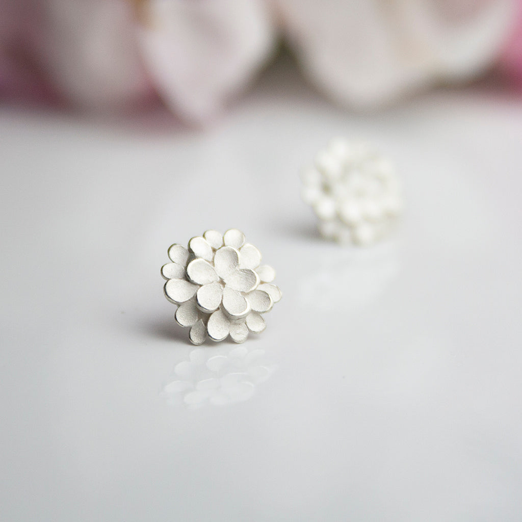 Silver Dahlia Earrings