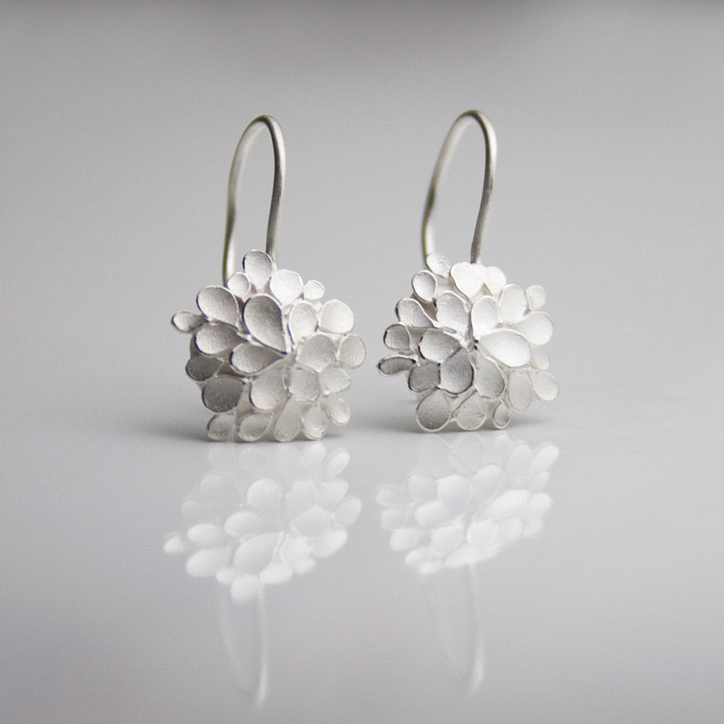 Dahlia asymmetrical Silver drop Earrings
