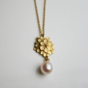 Dahlia asymmetrical Silver gold-plated Pearl drop Necklace