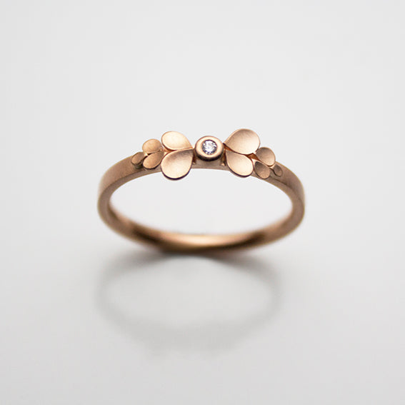 Dahlia Bow 18ct. Rose Gold and Diamond Ring