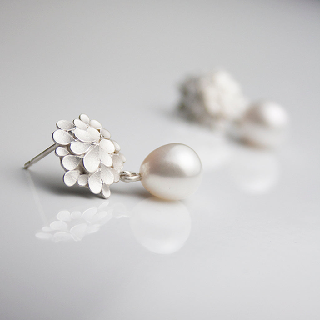 Dahlia asymmetrical Silver Freshwater Pearl drop Earrings