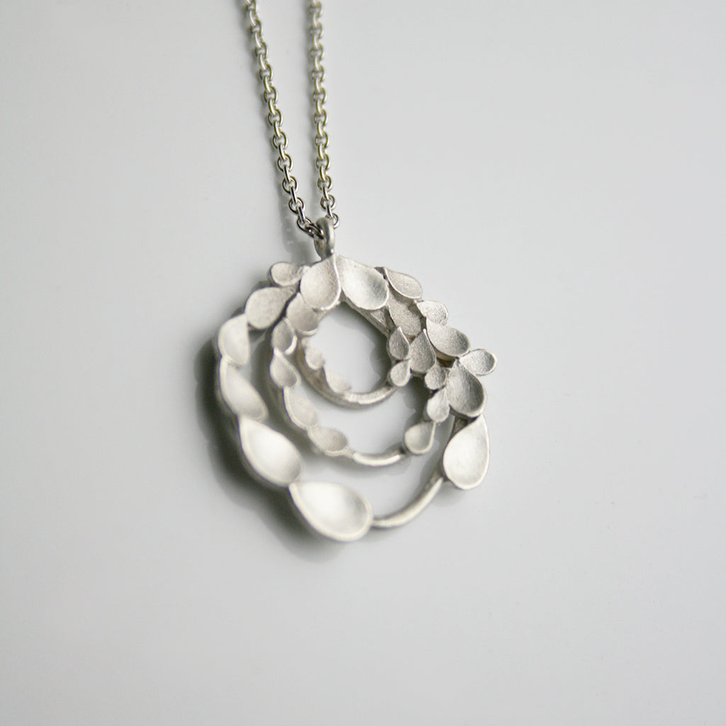 Floral Orbit Silver Necklace