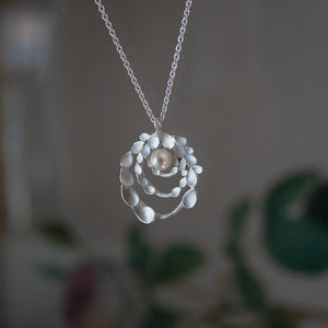 Floral Orbit Silver Necklace with freshwater Pearl