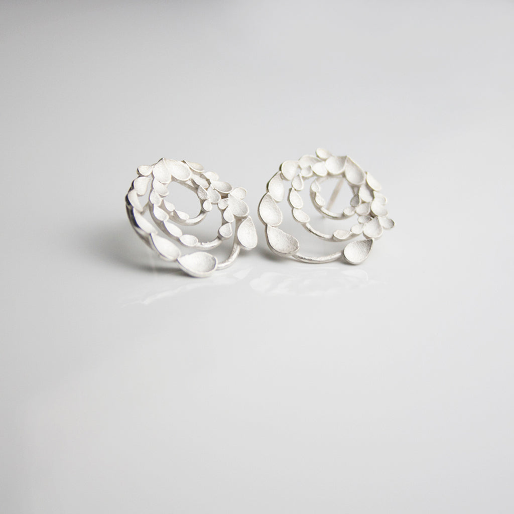 Floral Orbit Silver Earrings