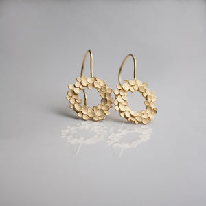 Floral wreath large Silver gold-plated Drop Earrings