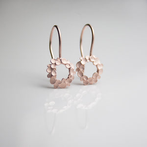 Floral Wreath small Silver Drop Earrings Rosegold-plated