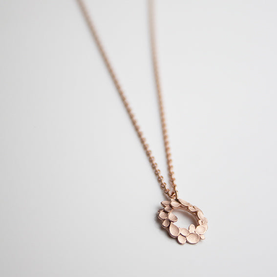 Floral Wreath small Silver Necklace Rose gold-plated