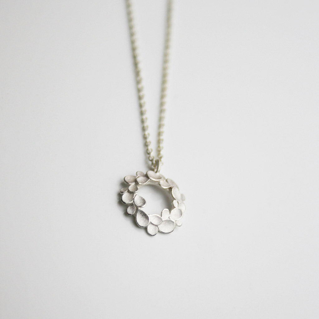 Floral Wreath small Silver Necklace