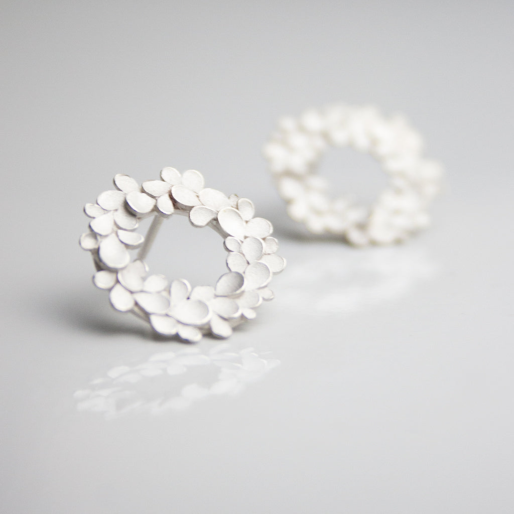 Floral wreath Silver Earrings