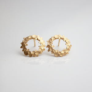Floral wreath medium Silver gold-plated Earrings