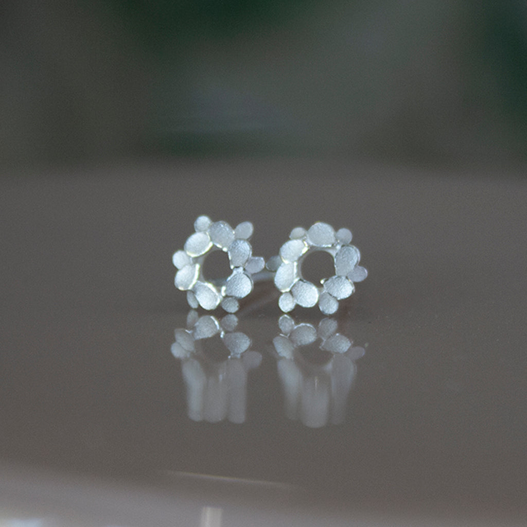 Floral wreath 925 Silver mini studs