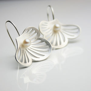 Flourish Silver & Pearl Earrings