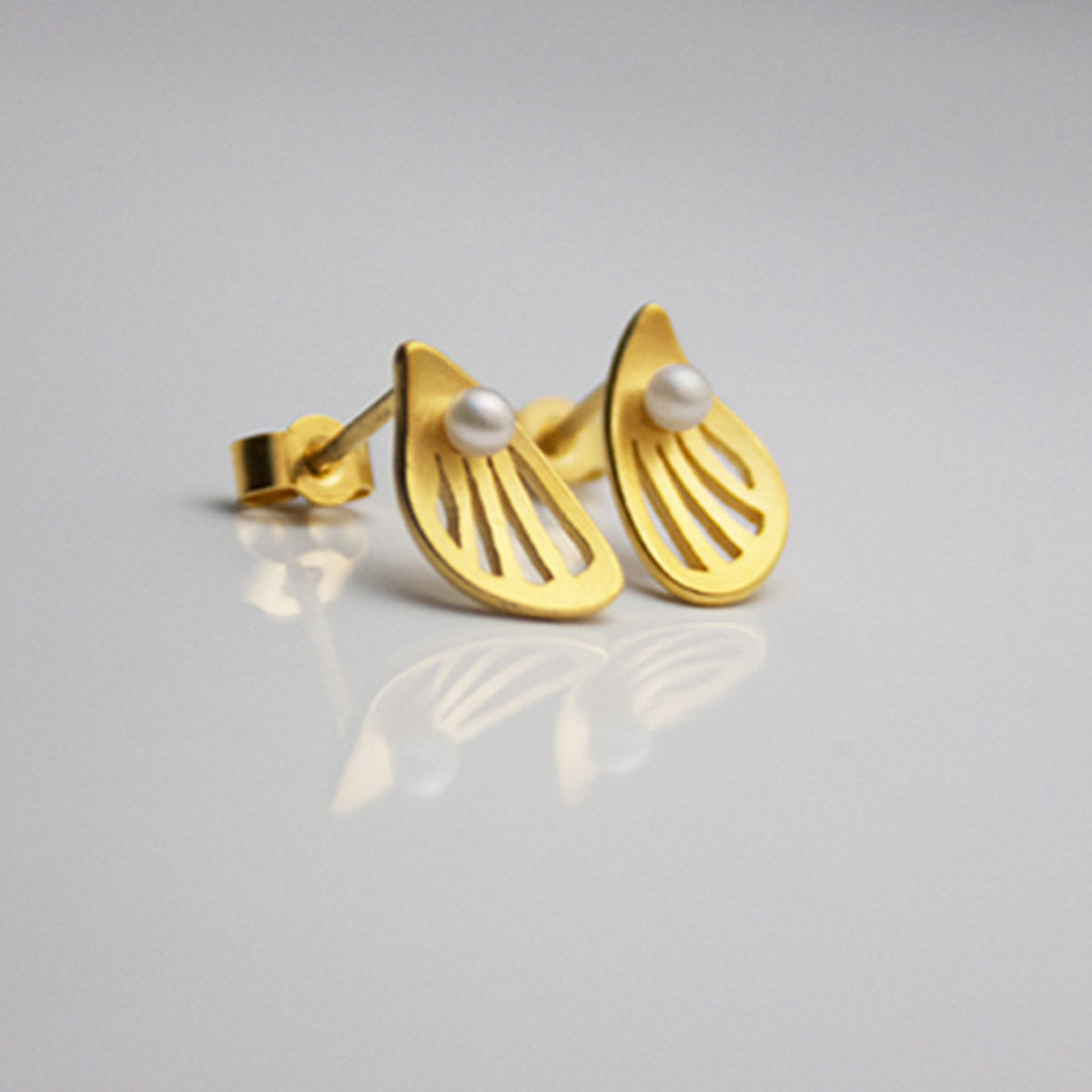 Wings Silver Earrings with pearls